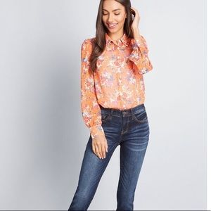 ModCloth Orange floral Be Buzzworthy Button-Up Top